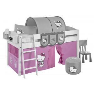 TÜV geprüftes Kinderhochbett mit Hello Kitty Vorhang & Lattenrost