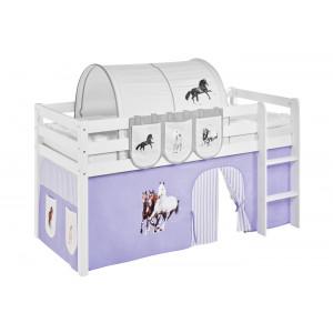 TÜV geprüftes Kinderhochbett mit Pferde Vorhang & Lattenrost