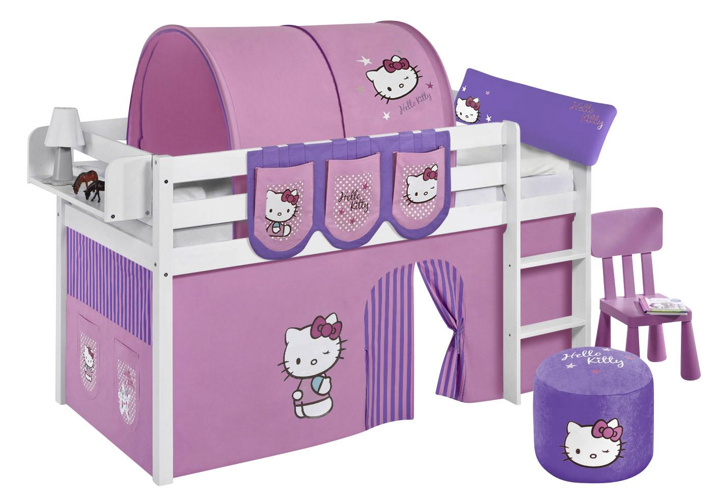 Halfhoogslaper 190 Cm.Halfhoogslaper Jelle Wit Gelakt Met Ondertent Hello Kitty Lila